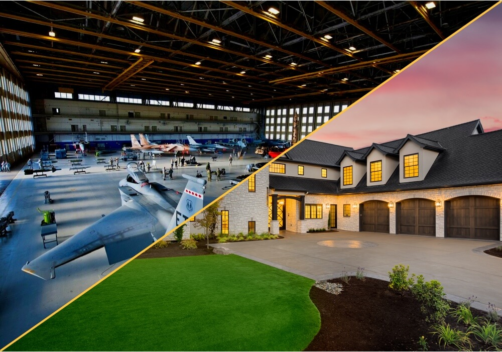 Aircraft hangar and a house